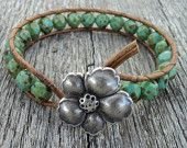 Boho Leather Wrap Bracelet, Rustic, turquoise,sea foam green, distressed leather