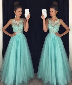 Long A Line Beading Prom Dress with Straps