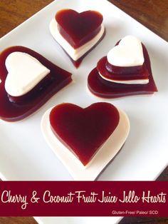 Cherry and Coconut Fruit Juice Jello Hearts. Gelatin Recipes, Jello Recipes, Recipies, Dessert Recipes, Gluten Free Jello, Gluten Free Cookies, Coconut Jello, Coconut Milk, How To Eat Paleo