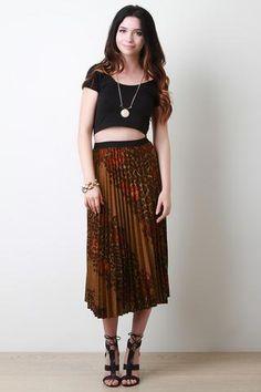 Diagonal Floral Leopard Accordion Skirt JP Murga's - Women's Clothing