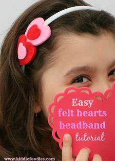Easy felt hearts headband tutorial, #felthearts, #headband, #tutorial, #valentinesideas