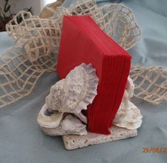 Oyster Shell Napkin Holder by PlumUnique on FB