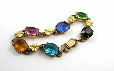 Vintage Art Deco Rhinestone Bracelet, Stamped Gold Filled, Czech Glass Cabochons, Stars..  via Etsy.
