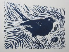 Blackberry Way  An original Linocut print by Monnowprints on Etsy. Printmaker-Yvonne Carroll