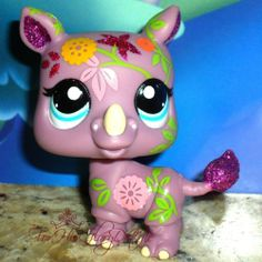 ✵Littlest Pet Shop✵LPS✵2342✵LAVENDER PURPLE GLITTER SPARKLE RHINO✵RHINOSAURUS✵