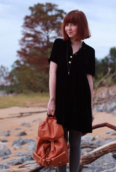 black, silk velvet dress via the clothes horse