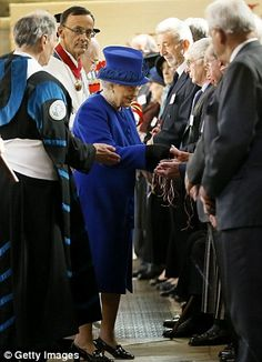 Queen Elizabeth II distributes the Maundy money - Every year at Easter Her Majesty presents special 'Maundy money' to local pensioners in a UK cathedral or abbey. - Since the 15th century, the number of Maundy coins handed out, and the number of people receiving the coins, has been related to the Sovereign's age: for example, when The Queen was 60 years old, 60 women and 60 men would have received 60 pence-worth of Maundy coins.