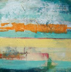 sunset-abstract Painting-blue and yellow landscape by CHAVAGA on Etsy