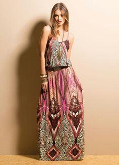 Vestido Longo Mix de Estampas com Alças - Posthaus