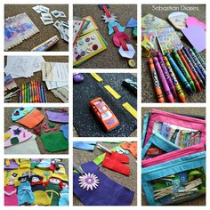 DIY Busy Bag Extravaganza with Free Instructions! More than 15 activities for your toddler to take on the go.  Kind of like a quiet book for church but more to do!  Perfect for traveling and road trips with kids.