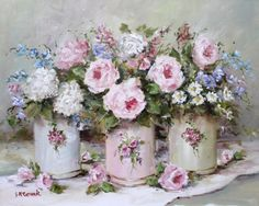 Ready to Frame Print  - Tins & Flowers - Postage is included Worldwide