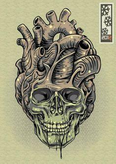 Skull heart tattoo illustration
