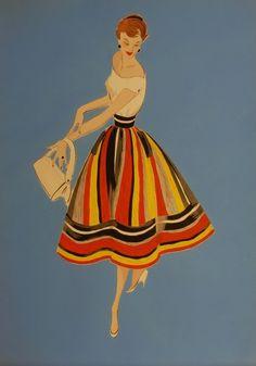 1950s fashion illustration.
