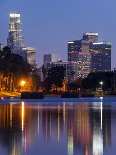 California, Los Angeles, Downtown District Skyscrapers Behind Echo Park Lake, USA Photographic Print by Christian Kober at AllPosters.com