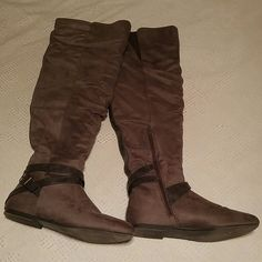 Over the Knee Boots from JustFab Kidney Taupe JustFab Work a couple times, near perfect condition Comes with original box   ??NO TRADES ??NO HOLDS ?YES OFFERS ?YES BUNDLES JustFab Shoes Over the Knee Boots