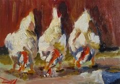"""Daily Paintworks - """"Afternoon Chickens"""" - Original Fine Art for Sale - © Delilah Smith"""