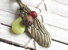 Antique Brass Wing Charm with Jade Carnelian and by InGodsHands