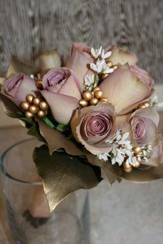 Lavender, blush, white, and gold bridesmaid bouquet.