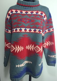 Ralph Lauren Country Indian Blanket Sweater. Aztec or Navajo style pattern. Turtleneck, size M. Wool and cotton.