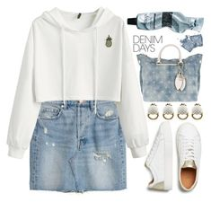 """""""Jean Dreams:Denim Skirts"""" by grozdana-v ❤ liked on Polyvore featuring NOLA, H&M, GUESS, Gucci, Aesop and denimskirts"""