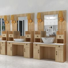Beauty styling station wooden counter salon mirror wash basin table made in China Mirror Cabinets, Wooden Cabinets, Wash Basin Counter, Shop Cabinets, Storage Cabinets, Salon Mirrors, Barber Shop Decor, Glass Dresser, Barbershop Design