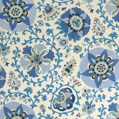 The G7144 Indian Sea upholstery fabric by KOVI Fabrics features Floral, Suzani pattern and Blue as its colors. It is a Made in USA, Print, Linen type of upholstery fabric and it is made of 55% Linen, 45% Rayon material. It is rated Exceeds 15,000 double rubs (heavy duty) which makes this upholstery fabric ideal for residential, commercial and hospitality upholstery projects.For help please call 800-860-3105.