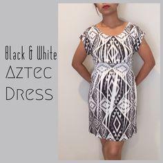 "Aztec Dress Simple black and white Aztec print dress. Very comfy fit. Elastic waist.                                                                 Flat Measurements: Bust 15"". Waist. 11"" with elastic stretch. Length (shoulder to hem) 32"".                          92 % polyester.  8 % spandex Dresses"