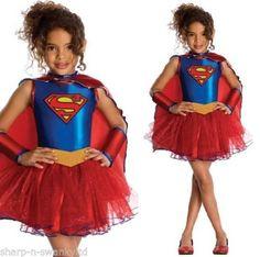 Maedchen-Offiziell-Lizenziert-Supergirl-Tutu-Hero-Buch-Tag-Kostuem-Verkleidung