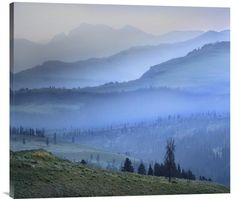 Buy inspirational horizontal Feng Shui photo Mist over Absaroka Range, Yellowstone National Park, Wyoming by Tim Fitzharris, which is available for sale in our landscape fine art photos collection. Th