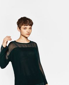 Image 3 of CONTRAST SHEER T-SHIRT from Zara