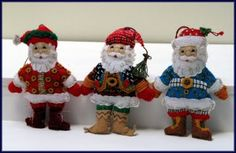 Santa Felt Ornaments Created By Linda Walsh - Mary Engelbreit #85310 Plaid Pattern From Bucilla