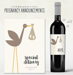 Pregnancy Announcement Custom Wine Labels by TenTwelveDesigns
