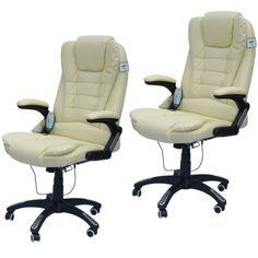 2-White-Heated-Ergonomic-Computer-Desk-Office-Massage-Chair-hydraulic-RC-Wheels