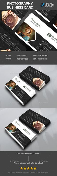 Photography Business Card Template PSD #design Download: http://graphicriver.net/item/photography-business-card-template/14128040?ref=ksioks