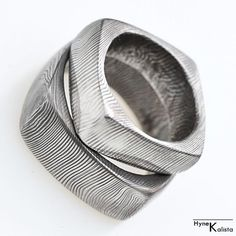 Square Wedding Ring, Men Ring - Hand forged stainless Damascus steel Wedding ring - Round Square