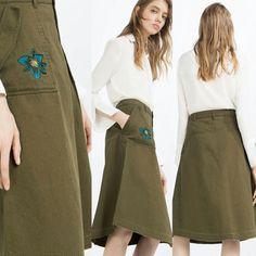 Джинсовая юбка,юбка хаки,юбка миди,юбка с вышивкой от zara 5