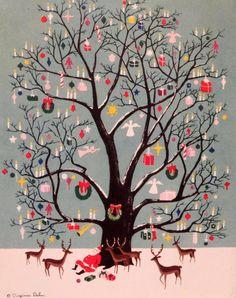 ~Vintage kerstkaart van Virginia Dahn~