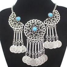 Tribal antigo filigrana de prata grânulos de turquesa moedas Navajo Zuni mercadoria colar Bib jóias grátis frete(China (Mainland))