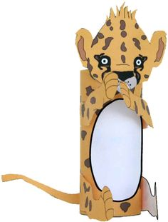 3D Cheetah Craft from TP roll & free printable