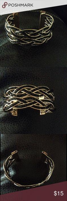 Black Beaded Gold Cuff Black Beaded Gold Cuff Jewelry Bracelets
