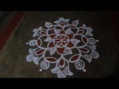 Free Hand Rangoli Design, Padi Kolam, Rangoli Patterns, Beautiful Rangoli Designs, Simple Rangoli, Youtube, Flowers, Florals, Flower