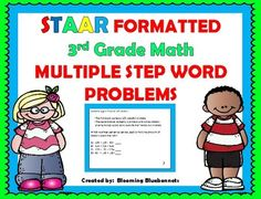 This set  includes 44 task cards with multiple step problems to help your students practice and prepare for the state assessments (STAAR).  It is STAAR formatted and includes an answer key and a student response page.  This set is geared for 3rd grade level word problems that students struggle to work with.