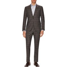 Lubiam Men's May Buttoned Suit - Brown, Size 50 (£540) ❤ liked on Polyvore featuring men's fashion, men's clothing, men's suits, brown, mens suits, mens brown suit, mens 3 button suits, mens patterned suits and mens clothing