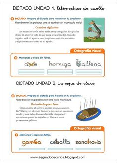 Primaria FICHAS IMPRIMIBLES DE DICTADOS para primer ciclo.