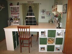 DIY Desk/ Craft table made with 3 Ikea bookcases Diy Crafts Desk, Craft Room Desk, Craft Room Storage, Home Crafts, Diy Home Decor, Diy Desk, Craft Rooms, Desk Storage, Craft Organization