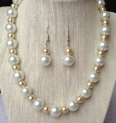Chunky Pearl Necklace Champagne Necklace by CherishedJewelryCo, $26.00