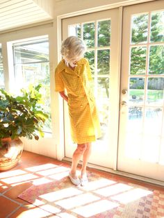 Vintage Lillian Russell yellow checked double breasted dress retro kitsch summer spring 1960's refined ladylike: medium, large by BopandAwe on Etsy
