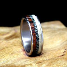 Titanium Wedding Band or Ring Desert Ironwood Deer Antler Turquoise Inlay on Etsy, $150.00