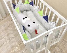 Baby crib bumper GREY BLUE GREEN Kind Dragon Pillow Handmade, Baby Bed Bumper, Baby Shower Present