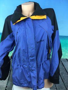 Marmot Womens Coat Jacket Size S Small Nylon Parka Shell Blue Purple Yellow  A15 #Marmot #DoubleZip #Outdoor